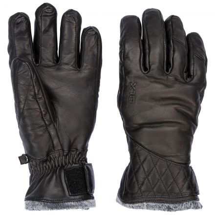 Daliana Adults Black Waterproof Leather Gloves in Black