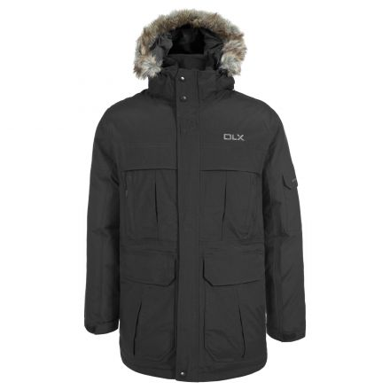 Highland Mens Waterproof Down Parka Jacket in Black