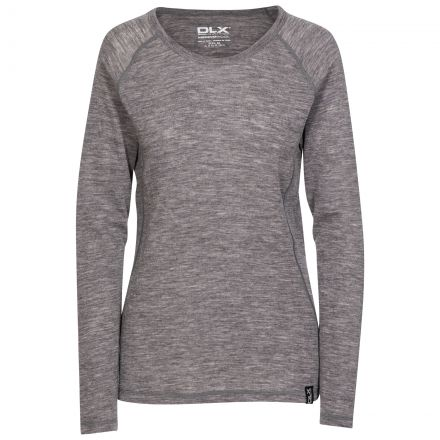 Libra Womens Long Sleeved Merino Wool Top in Grey, Front view on mannequin