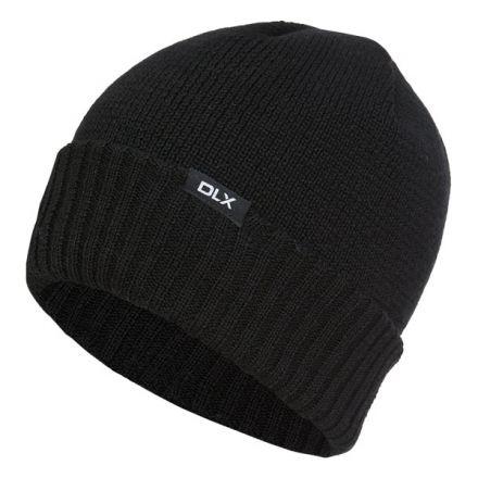 Ronan Adults Black Wool Knitted Beanie Hat in Black