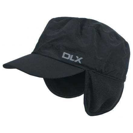 Rupin Adults Black Waterproof Fleece Ear Warmer Panel Hat in Black