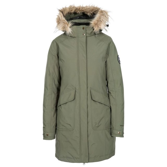Bettany Womens Waterproof Down Parka Jacket in Green