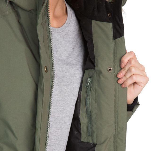 Bettany Womens Waterproof Down Parka Jacket in Green