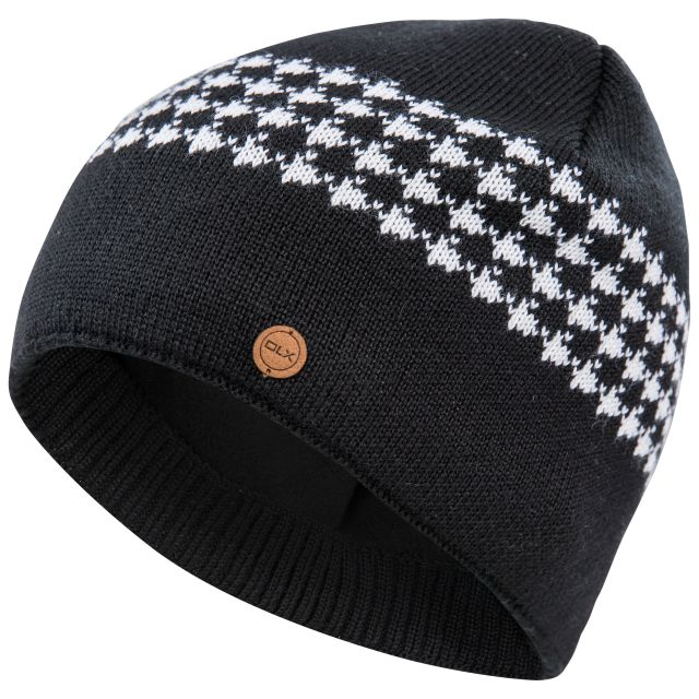 Capaldi Mens Fleece Lined Knitted Beanie Hat in Black