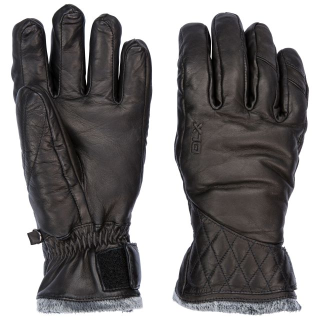 Daliana Adults Black Waterproof Leather Gloves in Black