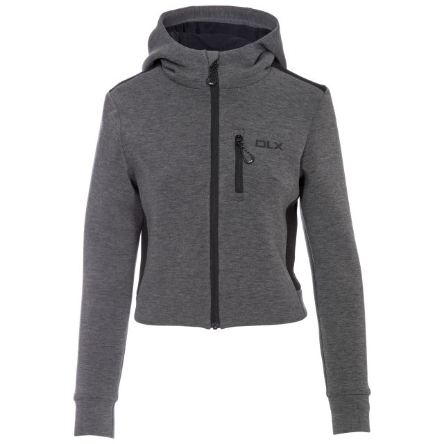 Fernanda Women's DLX Cropped Full Zip Hoodie in Light-Grey