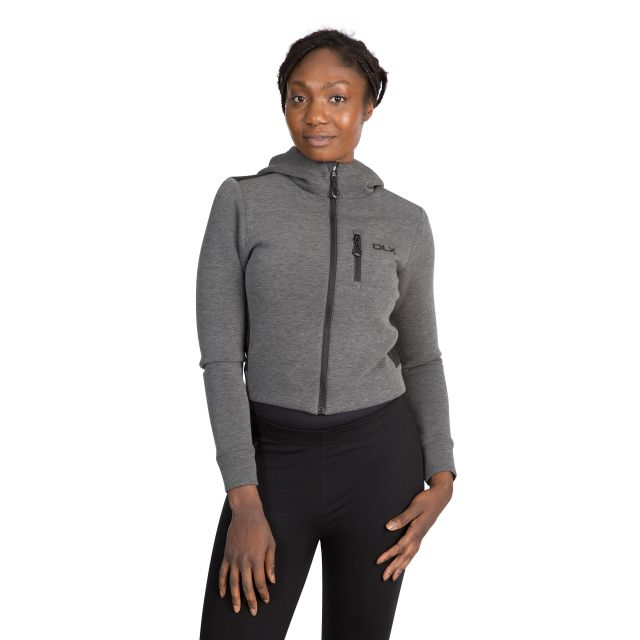 Fernanda Women's Cropped Full Zip Hoodie in Light-Grey