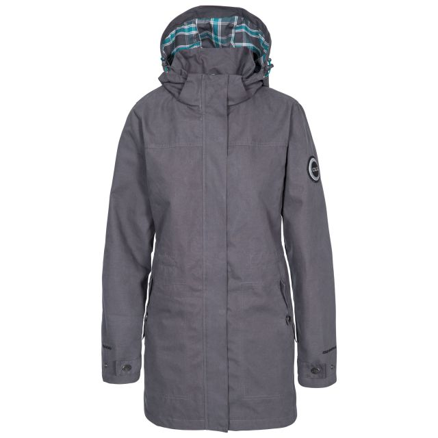 Henriette Womens Long Length Waterproof Jacket in Grey