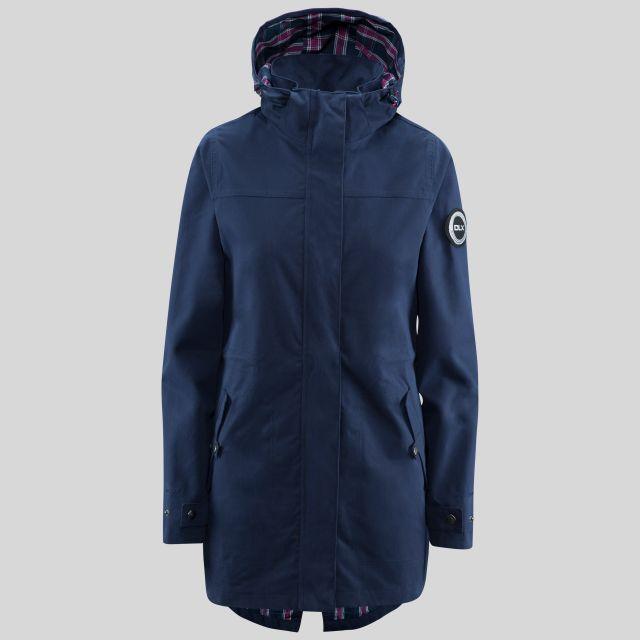 Henriette Womens Long Length Waterproof Jacket in Navy