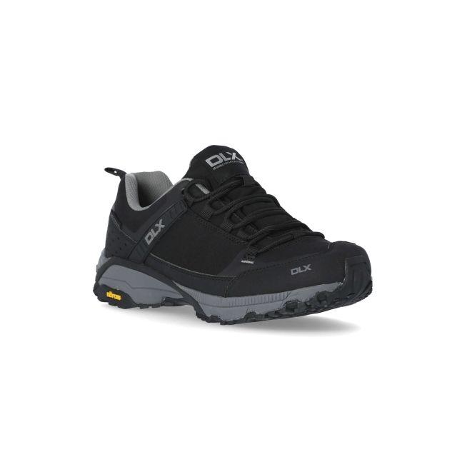 Magellan Mens Vibram Walking Shoes in Black, Angled view of footwear