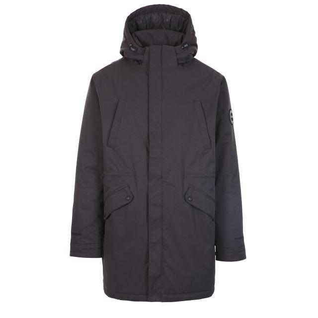 Caleb Mens Waterproof Hooded Padded Jacket  in Dark Grey
