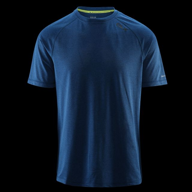 Deckard Mens Round Neck Active T-shirt in Blue