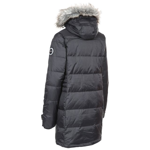 Ophelia Womens Hydrophobic Down Insulated Parka Jacket in Black