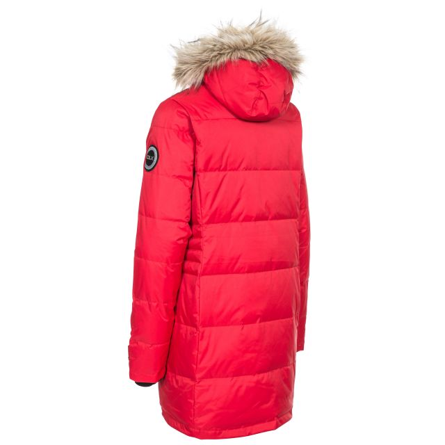 Ophelia Womens Hydrophobic Down Insulated Parka Jacket - RED