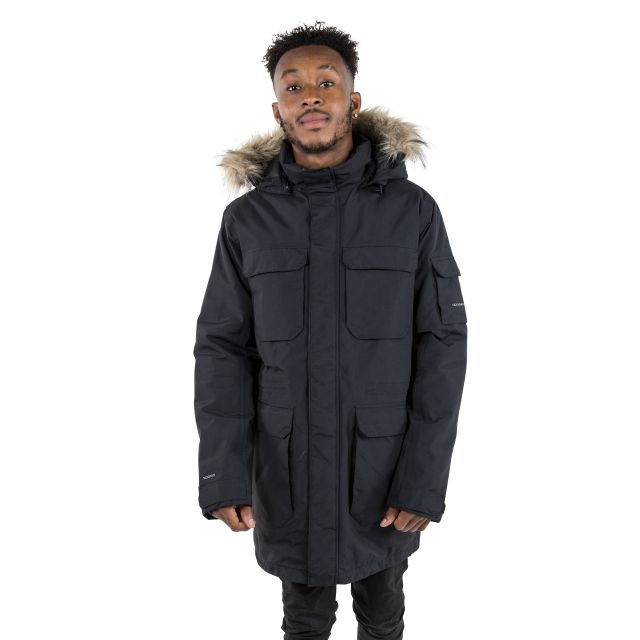 Pixilation Mens Black Waterproof Parka Jacket in Black