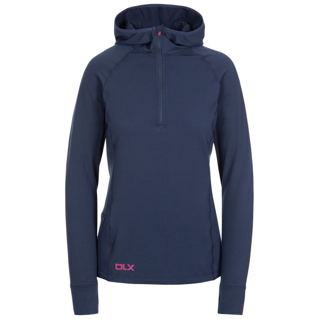 Rebecca Women's DLX Hooded Active Top in Navy, Front view on mannequin