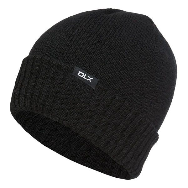 Ronan Adults Black Wool Knitted Beanie Hat in Black
