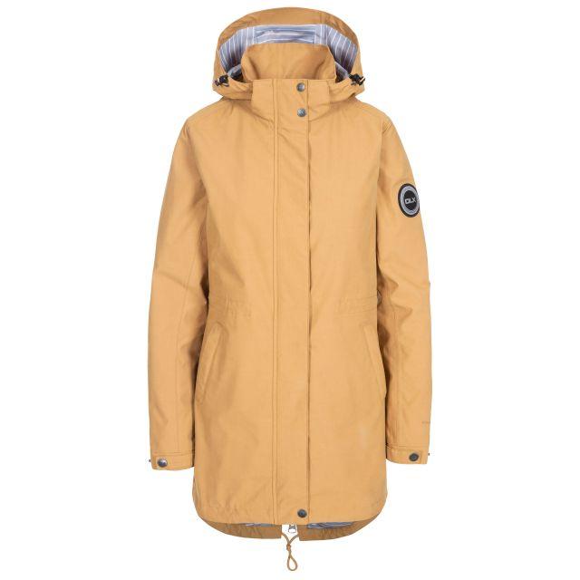 Sabine Women's DLX Waterproof Jacket in Beige, Front view on mannequin