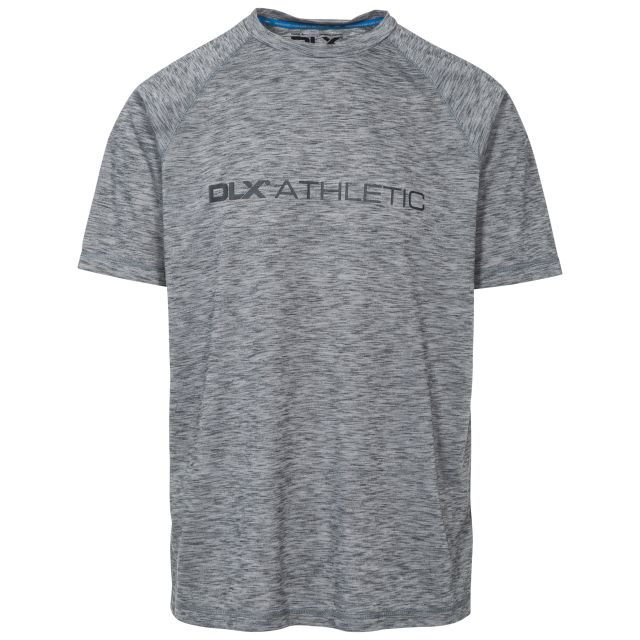 Striking Mens Grey Round Neck Active T-shirt in Light-Grey, Front view on mannequin