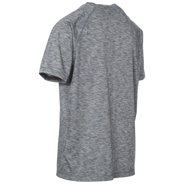 Striking Mens Grey Round Neck Gym Top in Light-Grey