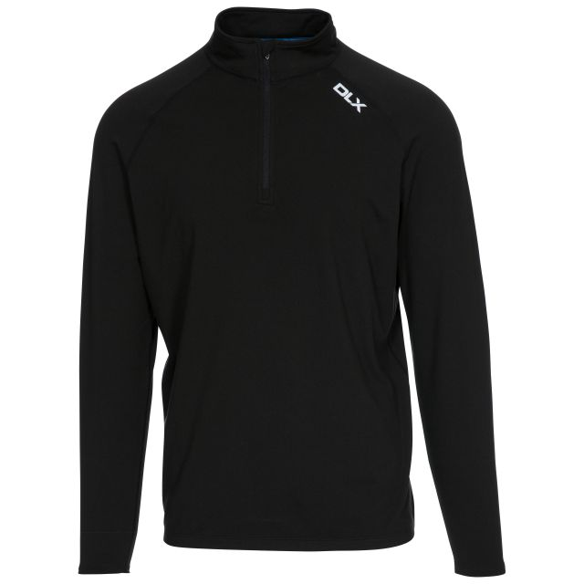 Tierney Mens Long Sleeved Top in Black, Front view on mannequin