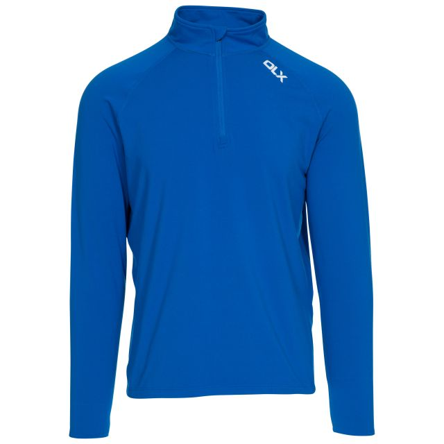 Tierney Mens Long Sleeved Top in Blue, Front view on mannequin