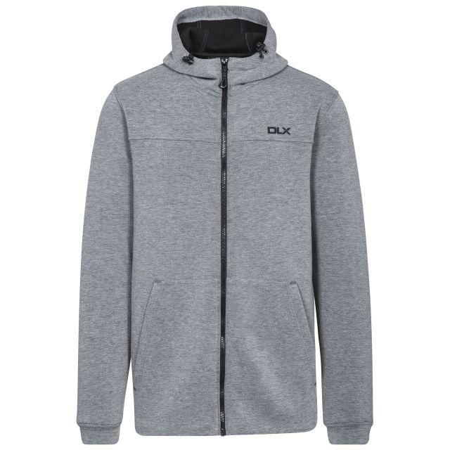 Vega Mens Grey Hooded Zipper in Light-Grey, Front view on mannequin