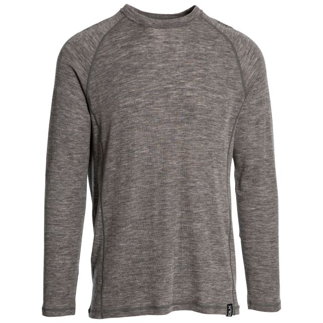 Wexler Mens Long Sleeved Merino Wool Top in Grey